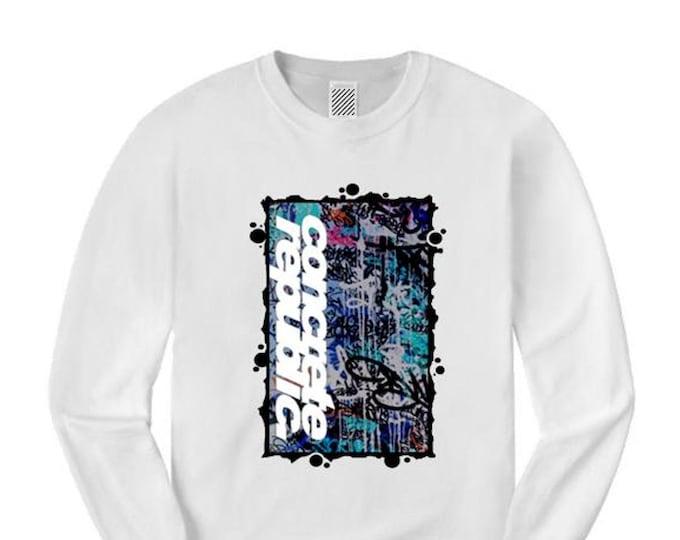 Mens long sleeve graffiti/hip hop tee, 'Burner' graffiti graphic (sizes Sm-4XL)