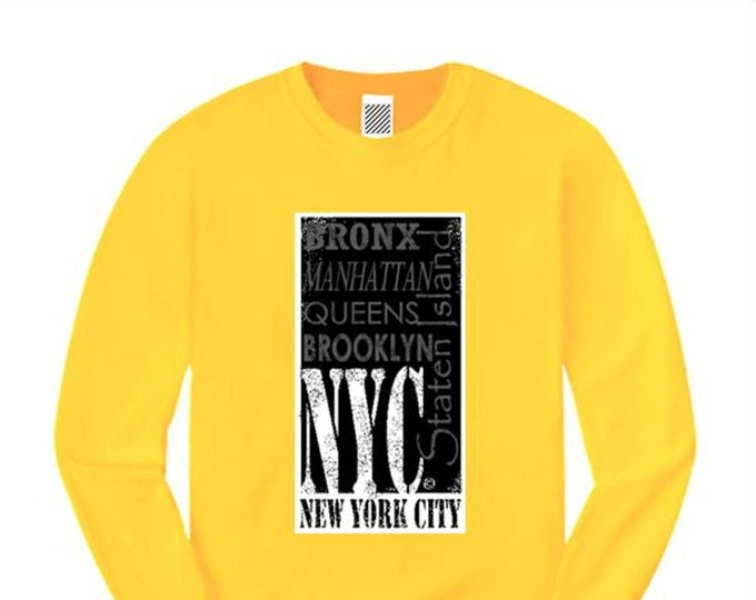 Mens long sleeve Urban Fashion Tee 'The Block, NYC' (New York City) Graffiti/Hip Hop style graphic tshirts (sizes Sm-4XL)