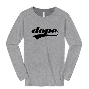 sizes Sm-4X Womens long sleeve t-shirts athletic swirl /'Team Dope/' graphic-assorted colors