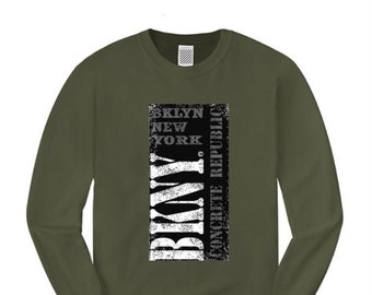 Mens long sleeve BKNY (Brooklyn, New York) 'Black Out' Graffiti style graphic (sizes Sm-4XL)