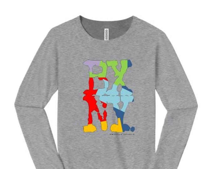 Women's long sleeve Hip Hop/Graffiti fashion t-shirts, 'Kolor' BXNY (Bronx, New York) graphic (size Sm-4X)