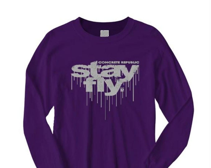 Mens long sleeve 'Stay Fly' dripping ink graffiti tag/Hip Hop style graphic tees (size Sm-4XL)