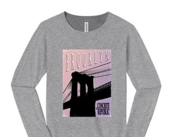 Womens Brooklyn Bridge long sleeve t-shirt, mural style graphic-assorted stylish colors (sizes Sm-4X)