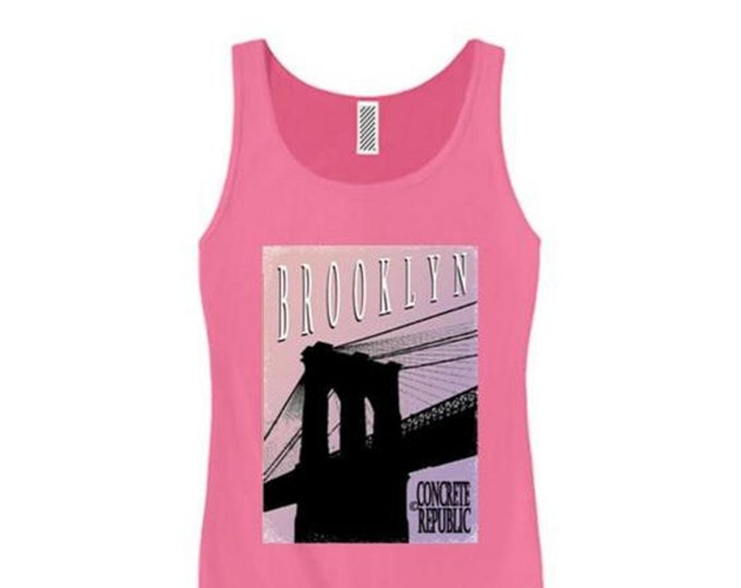 Womens Brooklyn Bridge tank top, mural style graphic-assorted stylish colors (sizes Sm-3X)