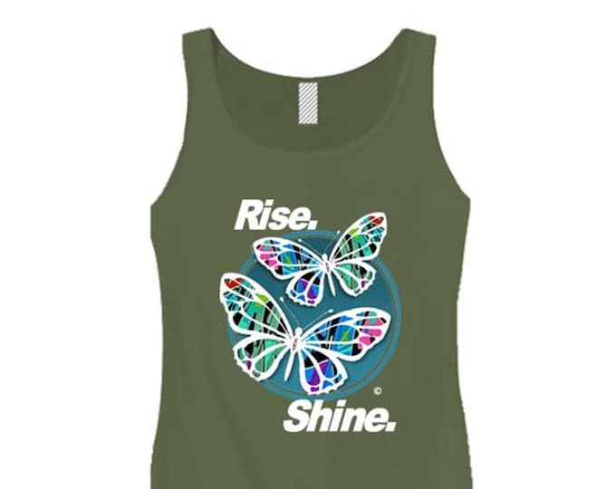 Womens Inspirational Graffiti/Hip Hop inspired tank tops 'Butterfly Effect/Rise, Shine' graphic-assorted colors (sizes Sm-3X)