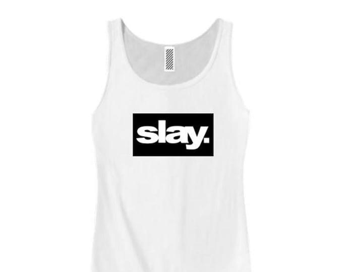 "Women's modern fashion tank tops ""Slay."" ultra modern graphic, urban slang, trendy t-shirts (size Sm-3X)"