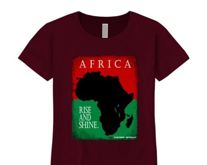 Afrocentric, Women's African art tee, Motherland graphic (sizes Sm-4X)