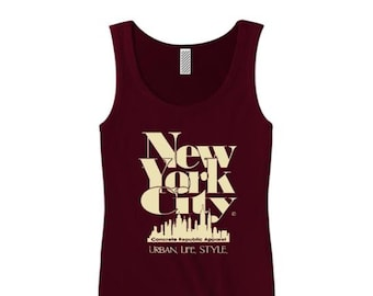 Women's New York City 'Grand Royal' graphic tank tops-Modern, stylish, sleek (sizes Sm-3X)