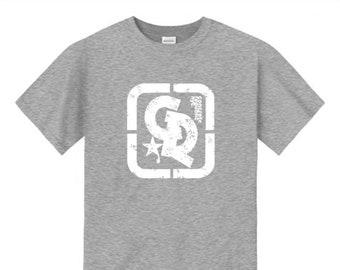 Mens streetwear/graffiti tee, 'Grunge' Concrete Republic logo graphic (sizes Sm-4XL)