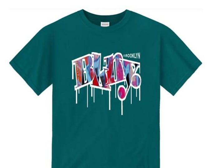 Mens graffiti/hip hop tee, BKNY (Brooklyn, New York) 'WETT' graffiti graphic (sizes Sm-4XL)