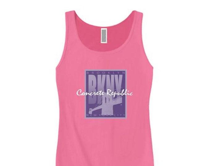 Women's 'Art Deco' style Brooklyn, New York (BKNY) graphic tank tops (size Sm-3X)