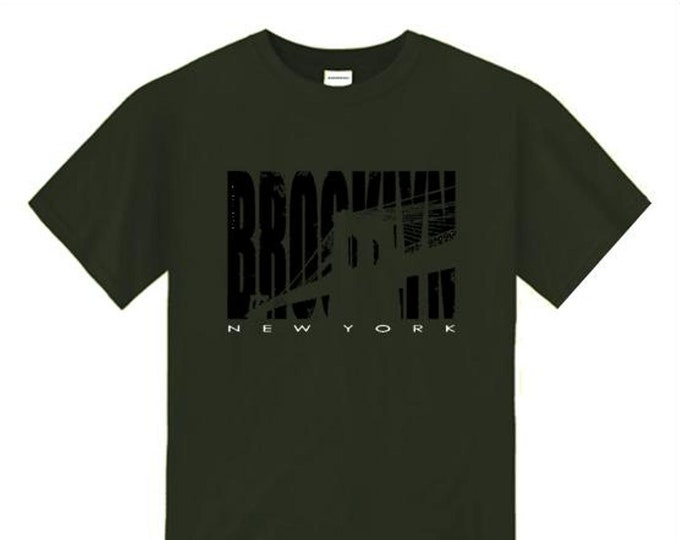 Mens Brooklyn NYC graphic crew neck t-shirt 'Inside Job' silhouette style graphic (sizes Sm-4X)