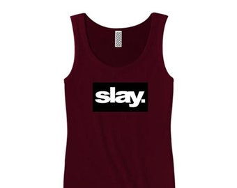 "Women's modern fashion tank tops ""Slay."" ultra modern graphic, urban slang, trendy t-shirts (size Sm-3X)"