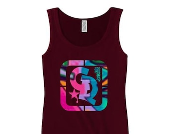 Womens stylish tank tops, 'Picasso' graffiti style Concrete Republic logo graphic (sizes Sm-3X)