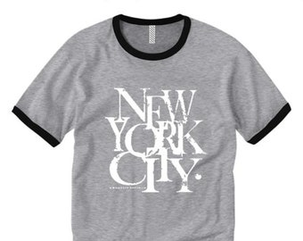 Mens retro style ringer tees, New York City 'Scramz' graffiti tag graphic (sizes Sm-2XL)