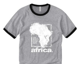 Mens retro style ringer tee 'Africa Nouveau' modern style graphic (sizes Sm-2XL)