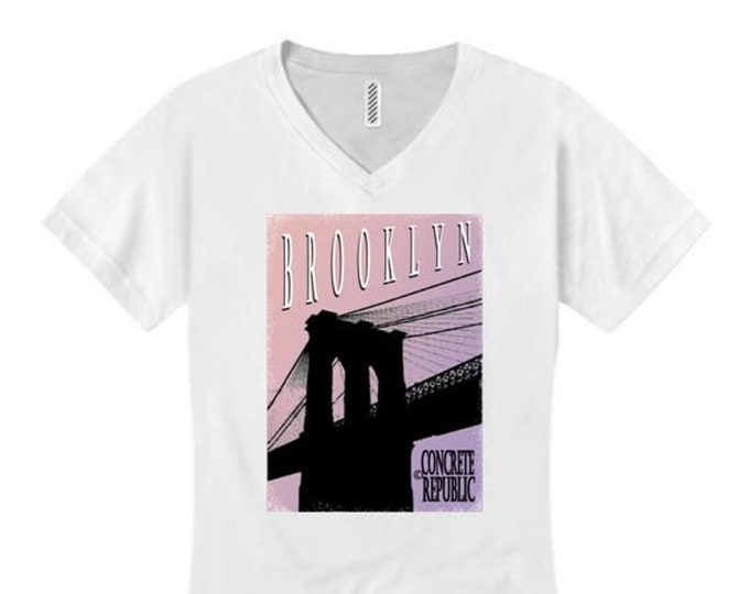 Womens Brooklyn Bridge v-neck t-shirt mural style graphic-assorted stylish colors (sizes Sm-4X)