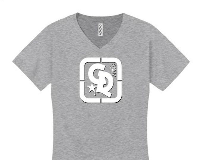Womens v-neck, sporty/modern style Concrete Republic logo graphic (sizes Sm-4X)
