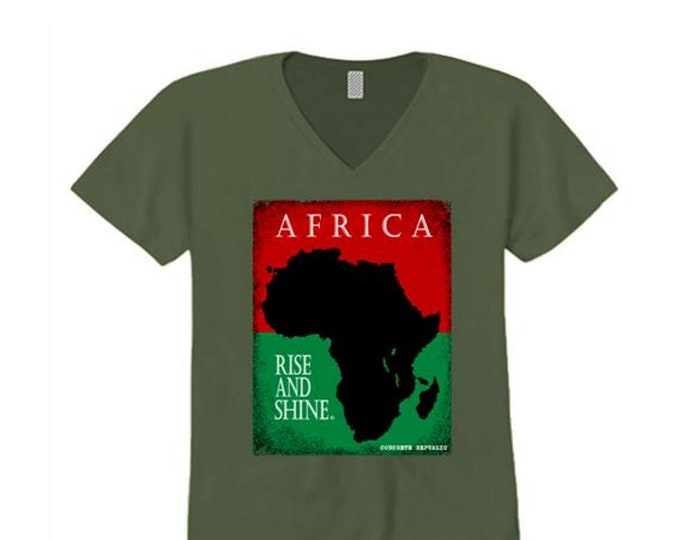 Afrocentric, Women's African art v-neck tee, Motherland graphic (sizes Sm-4X)