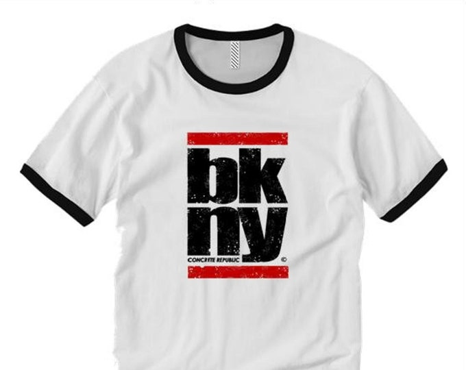 Brooklyn New York ringer tees, (BKNY) classic hip hop style graphic Tee-Graffiti/Hip Hop style (sizes Sm-2XL)