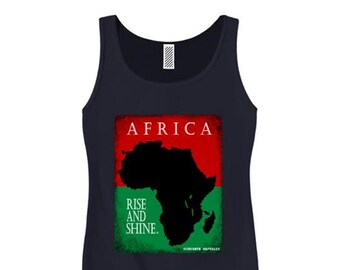 Afrocentric, Women's African art tank tops, Motherland graphic (sizes Sm-3X)