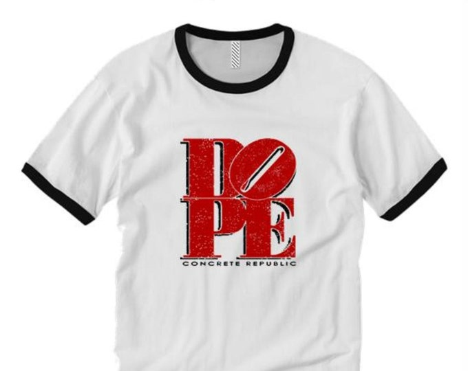 Dope by Concrete Republic (Philly 'Love'/NYC 'Hope') ringer tees, Graffiti/Hip Hop style (sizes Sm-2XL)