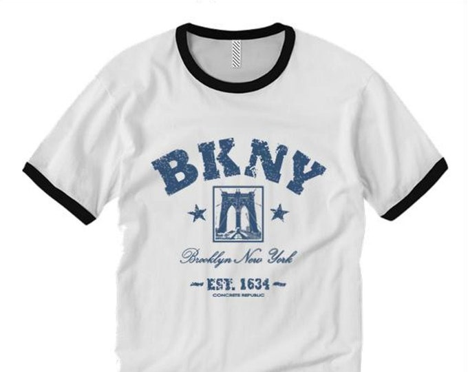Mens retro style ringer tee 'Da Bridge'  BKNY (Brooklyn, New York) graffiti style graphic (sizes Sm-2XL)