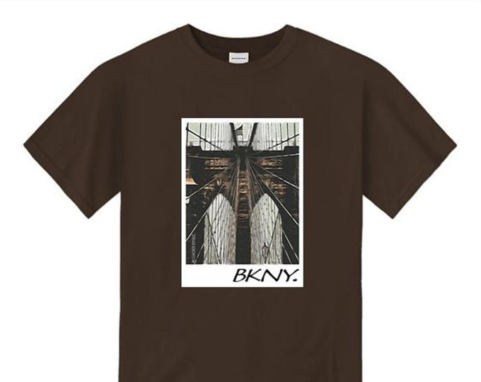Mens Brooklyn Bridge tees, BKNY 'Heritage' classic art style graphic tee (sizes Sm-4XL)