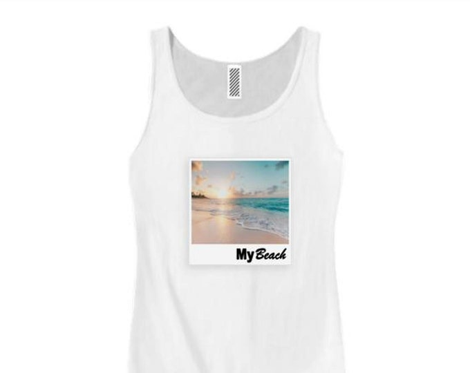Womens College Humor/Funny tank tops My 'Beach' graphic-assorted colors (sizes Sm-3X)