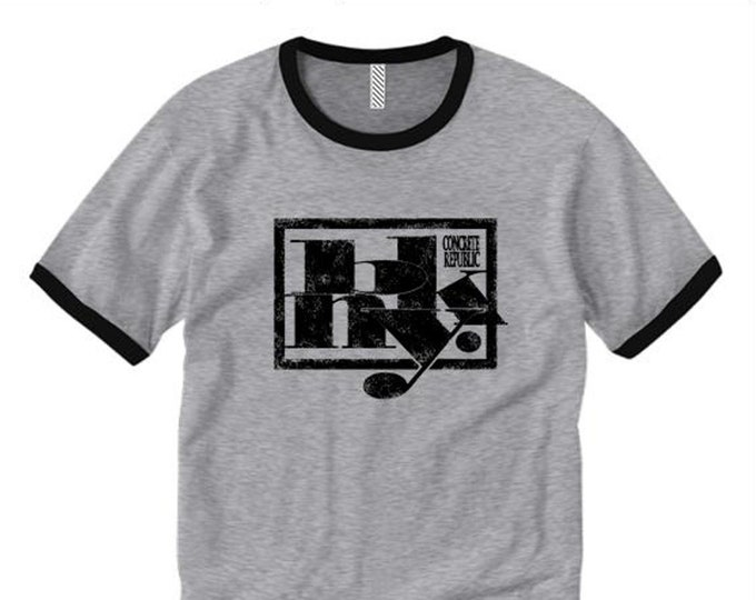 Mens retro style ringer tee, 'Kraftwerk' BKNY (Brooklyn, New York) futuristic graffiti graphic (sizes Sm-2XL)