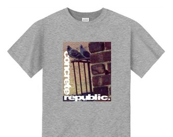 Mens urban fashion tee, 'The Usual Suspects' NYC pigeon graphic (size Sm-4XL)