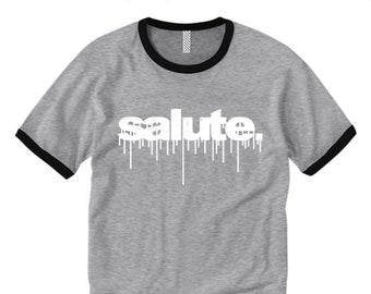 Mens retro style ringer tees 'Salute' graffiti tag style graphic (sizes Sm-2XL)