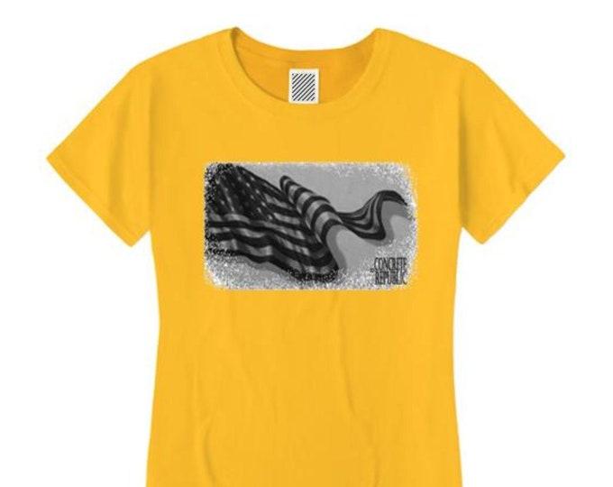 Women's American Flag Graphic tshirt, 'Old Glory' (sizes Sm-4X)
