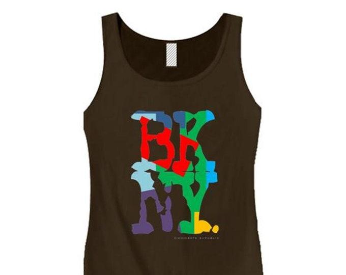 Women's Hip Hop/Graffiti fashion tank tops, 'Kolor' BKNY (Brooklyn, New York) graphic (size Sm-3X)