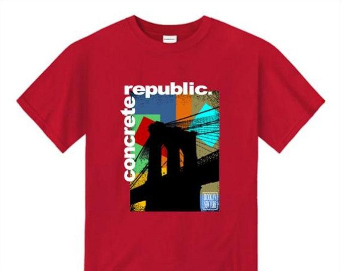 Mens Brooklyn Bridge graphic crew neck t-shirt 'Pop Life' mural style graphic (sizes Sm-4XL)