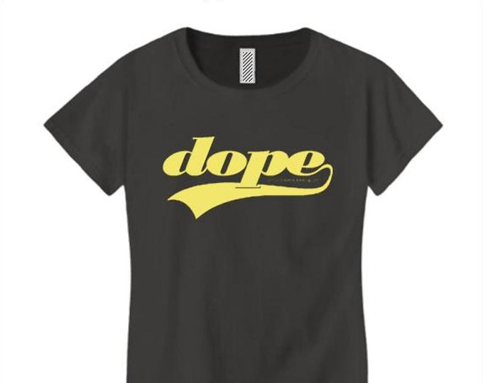 Womens crew neck t-shirt, athletic swirl 'Team Dope' graphic-assorted colors (sizes Sm-4X)