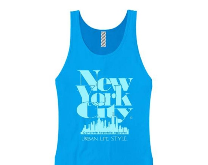 Women's New York City 'Grand Royal' graphic tank tops-Modern, stylish, sleek (sizes Sm-3X)
