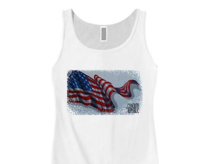 Women's American Flag Graphic tank tops, 'Old Glory' (sizes Sm-3X)