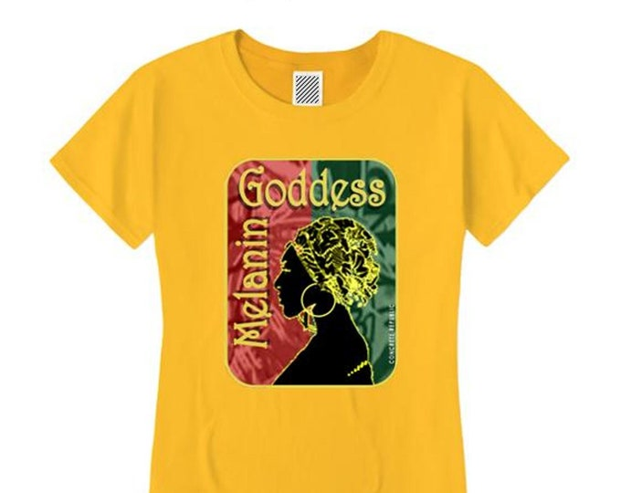 Afrocentric, Women's 'Melanin Goddess' African art style graphic (sizes Sm-4X)