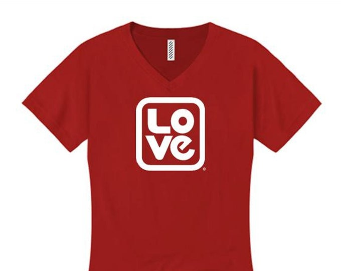 Womens v-neck t-shirt: 'Love, Squared' modern style graphic-assorted stylish colors (sizes Sm-4X)