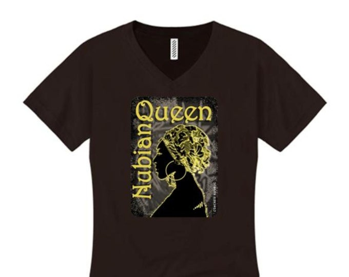 Afrocentric, Women's v-neck 'Nubian Queen' African art style graphic (sizes Sm-4X)