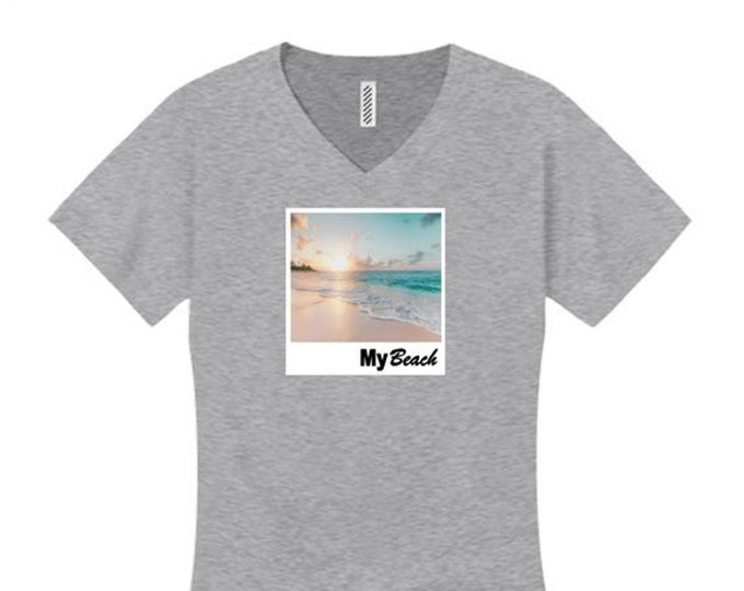 Womens College Humor/Funny v-neck t-shirt My 'Beach' graphic-assorted colors (sizes Sm-4X)