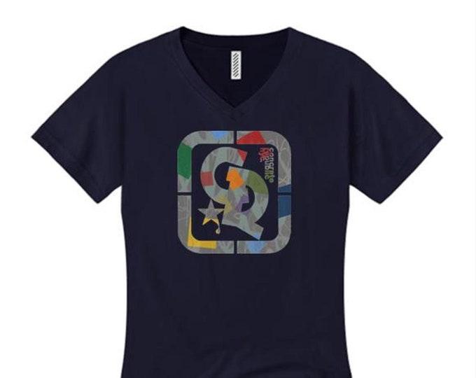 Womens v-neck 'Confetti' graffiti style Concrete Republic logo graphic (sizes Sm-4X)