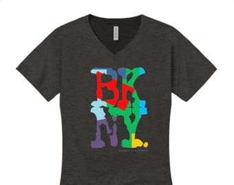 Women's v-neck Hip Hop/Graffiti fashion tees, 'Kolor' BKNY (Brooklyn, New York) graphic (size Sm-4X)