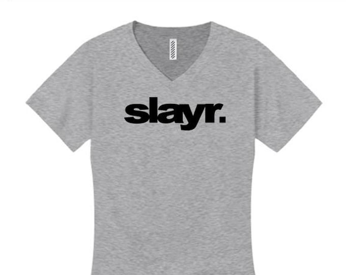 Women's trendy fashion v-neck tees, urban slang 'SLAYR.' (slayer) modern style graphic (size Sm-4X)