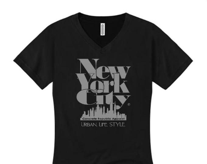 Women's v-neck New York City 'Grand Royal' graphic T-Shirt-Modern, stylish, sleek (sizes Sm-4X)