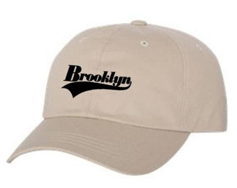 Dad Hats, Embroidered varsity style 'Brooklyn' graphic, 100% Chino Twill Cotton, adjustable strap, army green, beige, blue