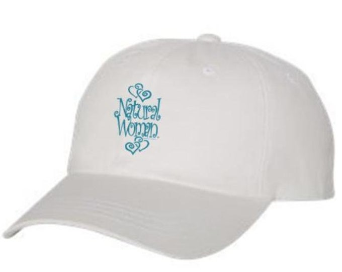 "Classic Dad Hats, Embroidered-inspirational ""Natural Woman"" graphic, 100% Chino Twill Cotton, adjustable strap-white hats, Unisex"