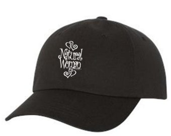 "Classic Dad Hats, Embroidered-inspirational ""Natural Woman"" graphic, 100% Chino Twill Cotton, adjustable strap-black hats, Unisex"