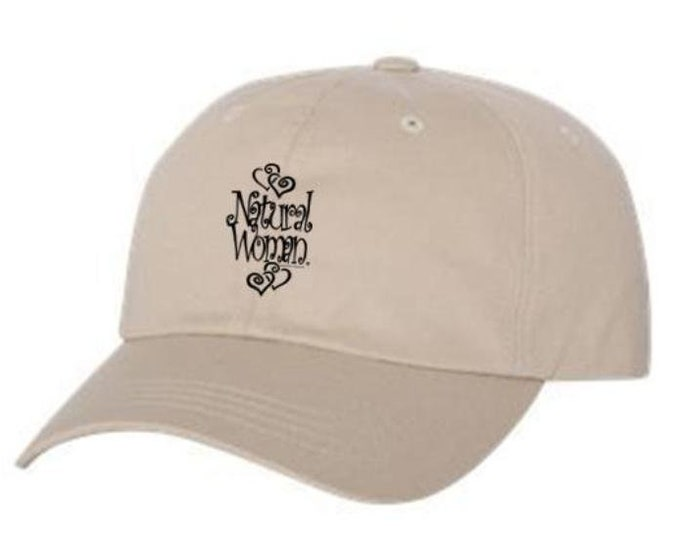 "Classic Dad Hats, Embroidered-inspirational ""Natural Woman"" graphic, 100% Chino Twill Cotton, adjustable strap-beige hats, Unisex"